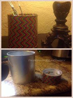Chip can reused to hold pens, marker, brushes, perfect for the kids or office. Many ways to re use duck tape. Love the chevron!