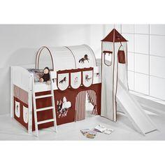 Hochbett Spielbett IDA Pferde Braun Beige, mit Turm, Rutsche und Vorhang, weiß Jetzt bestellen unter: https://moebel.ladendirekt.de/kinderzimmer/betten/hochbetten/?uid=0d850897-74c1-5828-bbc8-13d329ad59e6&utm_source=pinterest&utm_medium=pin&utm_campaign=boards #kinderzimmer #hochbetten #betten