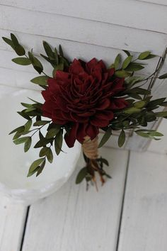 """This listing features a single dahlia flower bouquet in Marsala/burgundy. If you would like another color instead, simply let me know. Gorgeous! The dahlia flower is approximately 4 to 5"""" wide. It is a big, single flower. It is a one flower dahlia with teardrop, preserved greenery and small accents of tan gypsophila. I #CountryWedding Small Wedding Bouquets, Small Flower Bouquet, Wedding Flower Arrangements, Wedding Centerpieces, Dahlia Flower, Floral Arrangements, Dahlia Bouquet, Wedding Decorations, Centerpiece Flowers"""