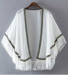 Trendy Batwing Sleeve Collarless Tassels Embroidery Kimono For Women