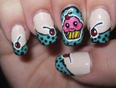 Pop Art Cupcake nail art by Lynni V. Cupcake Nail Art, Claw Nails, Birthday Nails, Creative Nails, Natural Nails, Beautiful Hands, Fun Nails, Pedicure, Nail Colors