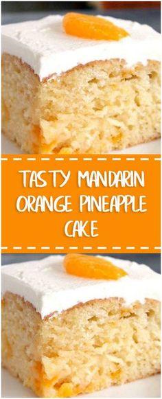 Tasty Mandarin Orange Pineapple Cake #tasty #mandarin #orange #pineapple #cake #whole30 #foodlover #homecooking #cooking #cookingtips