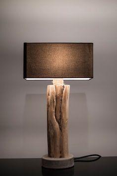 Luminaire bois flotté/ Base béton/ Driftwood lamp/ di AtelierKa