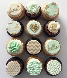 gold and mint green cup cakes - Google Search