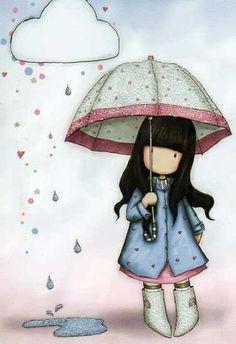 Beautiful cards: Gorjuss - Girl under umbrella by icitaiwan1, via Flickr