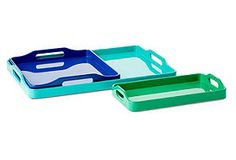S/3 Oceanic Lacquer Stackable Trays