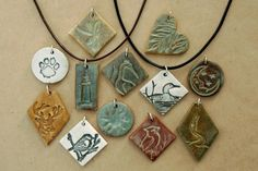 Blue Moon Necklace Kiln-Fired Michigan Earthenware Clay