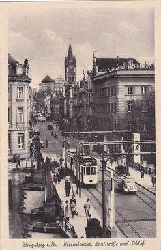 O 346 -Königsberg, Straßenbahn auf Börsenbrücke, Kanstraße, ungelaufen
