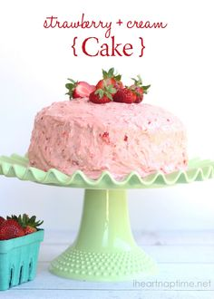 White cake with fresh strawberry cream frosting via iheartnaptime.com ...so so good!