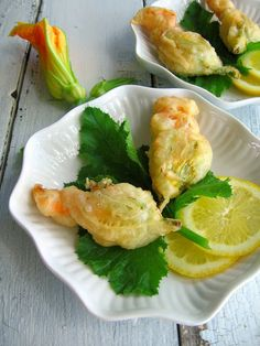 Zucchini Flowers Stuffed with Bocconcini and Lemon