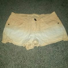 Orange and white eyelet shorts They have been worn, I just want them anymore! Bur they're really cute! They're a size 7 but fit like a 4 Mossimo Supply Co Shorts Jean Shorts