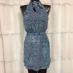 00P - NWT BANANA REPUBLIC PETITE Blue Medallion Print Tie-Neck Blouson Dress  | eBay