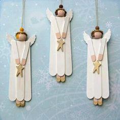 Schattige engeltjes maken van friskostokjes.