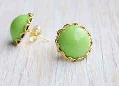 Chartreuse stud earrings polymer clay cabochon by NestBirdDesigns