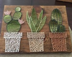 Cactus garden string art • suculent string srt • home decor • rustic wall art • rustic succulent cacti wall decor • ombre cactus #Homemadewalldecorations