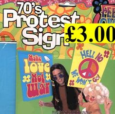 Image detail for -Hippie peace protest signs. hippy 70s placard - from Party Pants UK