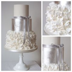 Edible silver leaf with ruffles wedding cake by Anna Tyler Cakes of Bristol in the UK.