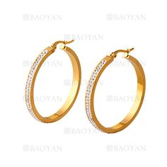 argollas 40 mm de estilo brillante en acero dorado inoxidable -SSEGG054413