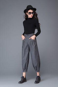 grey pant- wool pant- winter pant- warm pant- loose pant- womens pants- handmade womens pant - Men's style, accessories, mens fashion trends 2020 Warm Pants, Loose Pants, Cropped Pants, Women's Pants, Estilo Boyish, Baggy Jeans Damen, Older Women Fashion, Womens Fashion, Fashion Trends 2018