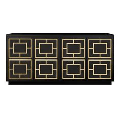 This magnificent cabinet, artisanally made, features four doors each with a push-to-open mechanism and a vintage-inspired plinth base. The front panels are overlaid with gold leaf designs that highlight the geometric decorations, adding a luxurious touch to the matte black lacquer.
