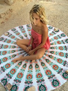 Roundie boho beach mandala blanket by AUROBELLE on Etsy