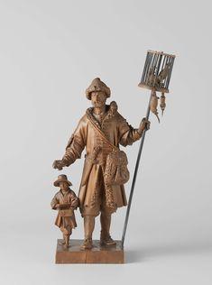 Ambrosius van Swol | De rattenkruitverkoper, Ambrosius van Swol, ca. 1660 | De man staat op een vierkante plint met het rechterbeen naar voren, houdt in zijn linkerhand een cilindervormige kooi op een lange stok en in de wat vooruitgestoken rechter waarschijnlijk een pakje gif, dat hij te koop aanbiedt. Naast hem loopt een knaap, die aan een riem, die over de rechterschouder loopt, een kistje voor zich heeft hangen, waarvan hij het deksel met de ene hand oplicht en de andere op het kistje…