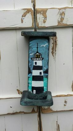 LIGHTHOUSE Painting Coastal Art By Scott D Van by MySalvagedPast