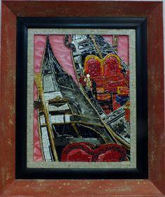 Titolo (L'Amore)Mosaico in marmi, smalti veneziani, ori 24Kt, e pittura a olio misura 35x45 più cornice in legno  Anno 2013