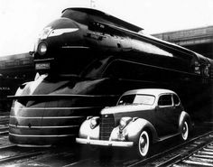 PRR Broadway Limited along side a '38 Studebaker, at the 1939 NY World's Fair