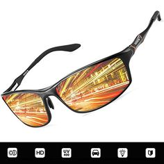 837e574fab0 Polarized Night Driving Glasses Anti Glare Safety Vision Glasses