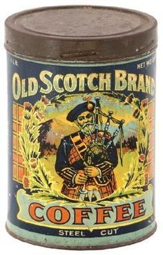'Old Scotch Brand' Coffee tin. Vintage Tins, Vintage Coffee, Vintage Labels, Vintage Antiques, Coffee Jars, Coffee Tin, Antique Coffee Grinder, Coffee Grinders, Tostadas