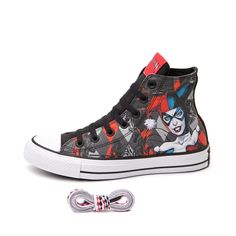 Step into scandalous style with the menacing new All Star Hi Harley Quinn Sneaker from Converse!
