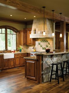 Wood and Stone.  Copper or Bronze Sink Instead of Ceramic.