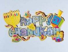 Rite Lite BD-13148 3D Happy Chanukah Decoration with Glitter Accents - Pack Of 6