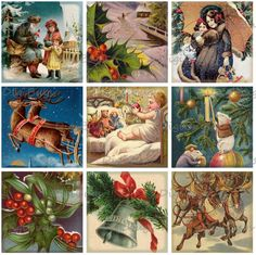 Old Christmas Postcards, Digital Collage Sheet, 1.5 inch Squares, Instant Download
