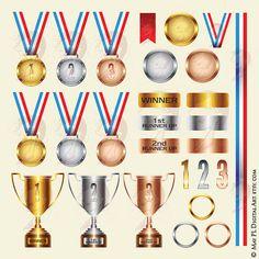 Medals Trophies Winner Runner Up Trophy Gold Silver Bronze Blank Medal Ribbon Achievement School Business Success Graphics Clipart Set 10285, #MedalsTrophies #WinnerClipart #RunnerUpTrophy
