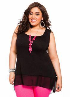 Ashley Stewart Women's Plus Size Chiffon Accent Hi-lo Knit Tank Black 14/16 $24.50 #Tops #AshleyStewart