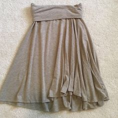 Max Studio Skirt/Dress Cotton skirt with fold over waistband. Looks cute with cropped tops.  Can also be worn as a strapless, tube dress. Perfect for a pool/beach coverup. Max Studio Skirts Midi