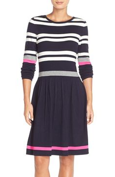 Eliza J Stripe Sweater Fit & Flare Dress available at #Nordstrom