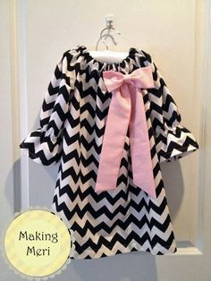 Black and White Chevron Peasant Dress with Pink Bow Baby Toddler Girls. $35.00, via Etsy.