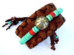 Cuff Bracelet  Turquoise & Coral Beads by TribalVibesLeather, $54.00