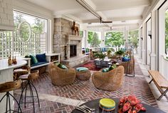 Porch. Back Porch with outdoor kitchen and outdoor living room with fireplace. Back porch layout ideas. #Back #Porch Wade Weissmann Architecture. David Bader Photography.