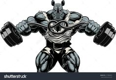 Vector illustration, a ferocious rhino bodybuilder tied barbell in a knot