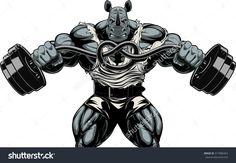 Illustration of Vector illustration of a strong bullterrier with big biceps, bends the barbell, bodybuilder vector art, clipart and stock vectors. Bodybuilding Logo, Rhino Logo, Big Biceps, Gym Logo, Rhinoceros, Fitness Logo, Photoshop Design, The Villain, Teenage Mutant Ninja Turtles