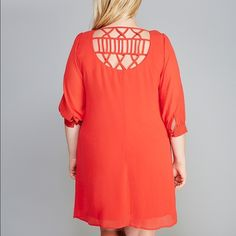 BNWT Poppy Red Lattice Shift Dress-2x plus size I have a brand new with tags red shift dress from Want and Need in a size 2x. Feel free to make offers. Want and Need Dresses