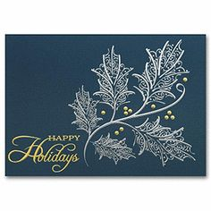 Silver and Gold Holiday Card Business Holiday Cards, Holiday Greeting Cards, Holiday Wishes, Christmas Paper Crafts, Christmas Cards, Blue And Silver, Cardmaking, Card Ideas, Simple