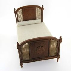 Exquisitely Carved & Caned Dollhouse Miniature French-Style Bed by Bespaq-RARE $99