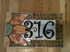 Custom Mosaic Address Plaque by melissaforcier on Etsy Mosaic Pots, Mosaic Wall Art, Mosaic Glass, Mosaic Crafts, Mosaic Projects, Stained Glass Patterns, Mosaic Patterns, Address Plaque, Address Numbers