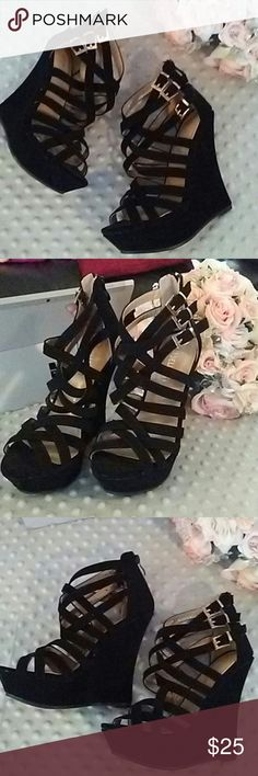 DELICACY BLACK SUADE PLATFORMS SZ 6 ZIPPER BACK True size 6. Suade feel platforms. Very high heels. Zipper back ankle. Gold buckles details. Strappy and sexy. New!!!! Normally $45!!! delicacy Shoes Platforms