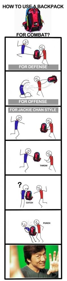 How to use a backpack for combat... now im prepared. hahahaha